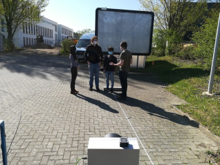 Testing the radar-based detection of the vital parameters of a group of people as they move naturally in an environment at Fraunhofer FHR.