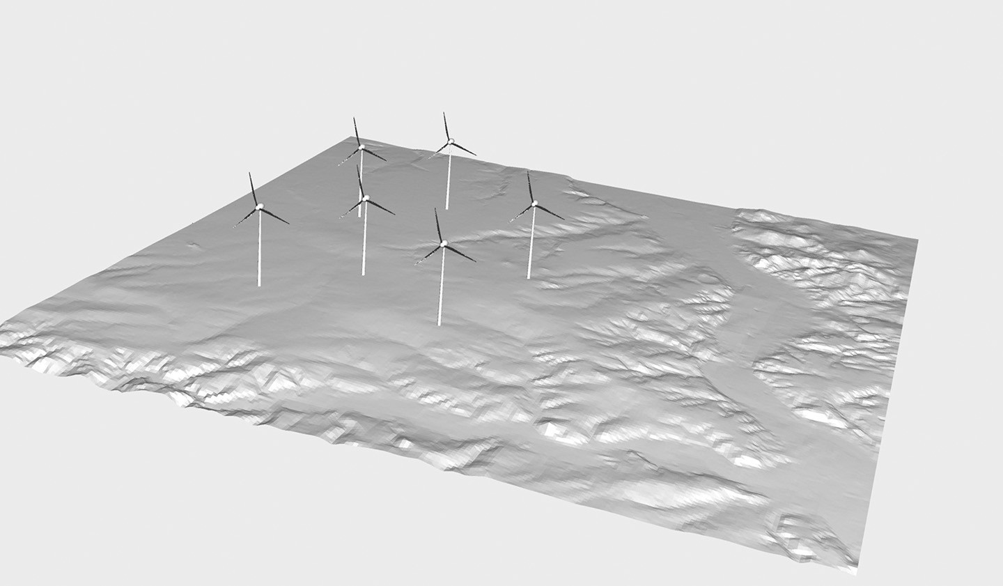 Terrain model with wind turbines (schematic representation, wind turbines are oversized).
